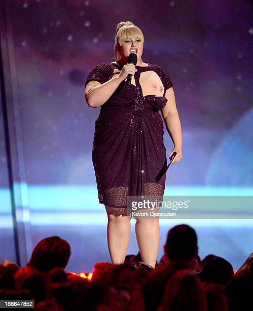 Host Rebel Wilson speaks onstage during the 2013 MTV Movie Awards at Sony Pictures Studios on April 14 2013 in Culver City California