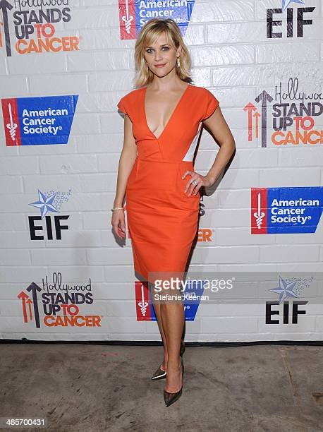 Host Reese Witherspoon attends Hollywood Stands Up To Cancer Event with contributors American Cancer Society and Bristol Myers Squibb hosted by Jim...
