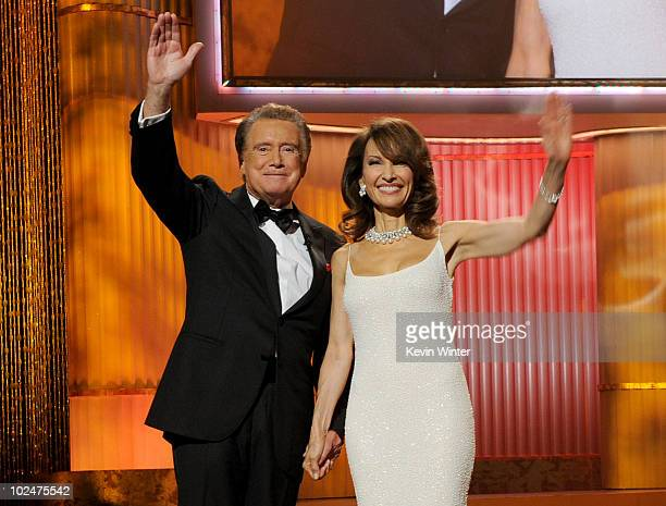 Host Regis Philbin and actress Susan Lucci speak onstage at the 37th Annual Daytime Entertainment Emmy Awards held at the Las Vegas Hilton on June 27...