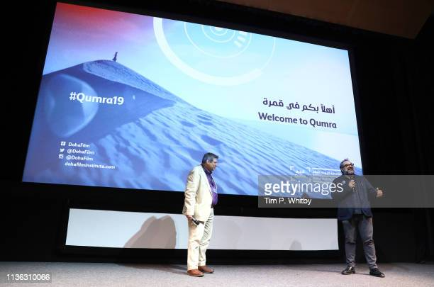 Host Richard Pena and Qumra Master Eugenio Caballero on stage ahead of the screening of Pan's Labyrinth on day two of Qumra, the fifth edition of the...
