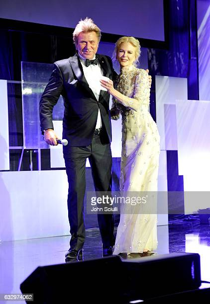 Host Richard Wilkins and actress Nicole Kidman speak onstage during the 2017 G'Day Black Tie Gala at Governors Ballroom At Hollywood And Highland on...