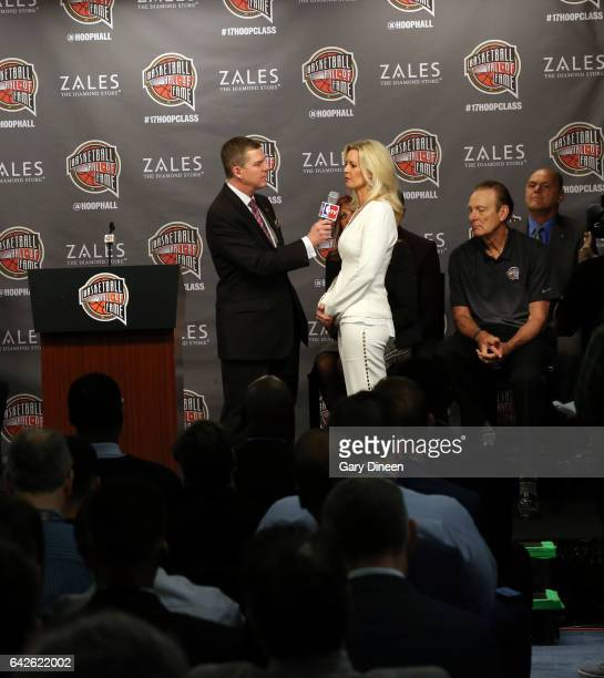 TV host Rick Kamla interviews Stacy Sager during the Hall of Fame Press Conference as part of 2017 AllStar Weekend at the Smoothie King Center on...