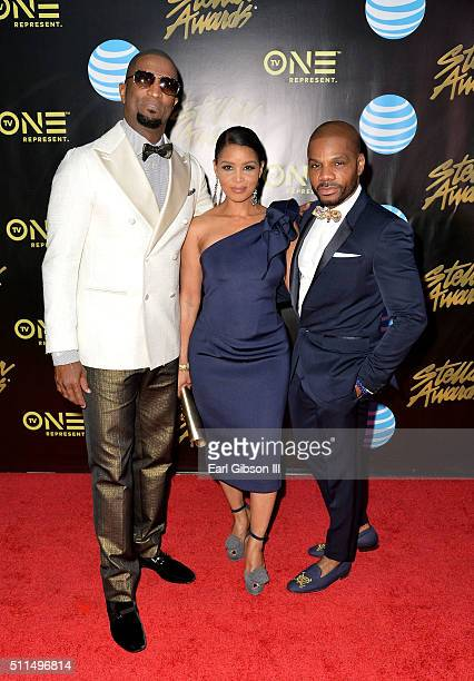 Host Rickey Smiley Tammy Franklin and recording artist Kirk Franklin attend the 2016 Stellar Gospel Awards at the Orleans Arena on February 20 2016...