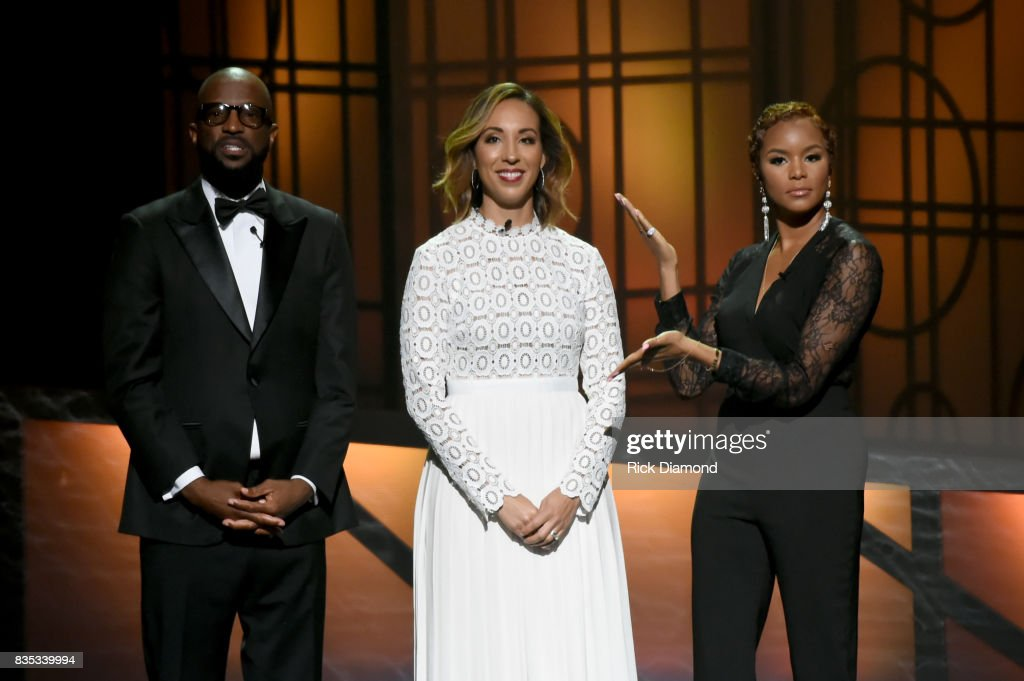 Host Rickey Smiley, Vice President, Agency and Sales of State Farm Kristyn Cook-Turner and host Letoya Luckett speak onstage at the 2017 Black Music Honors at Tennessee Performing Arts Center on August 18, 2017 in Nashville, Tennessee.
