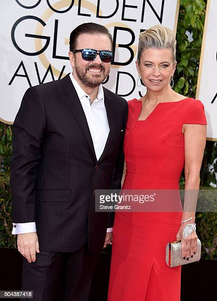 Host Ricky Gervais and Jane Fallon attend the 73rd Annual Golden Globe Awards held at the Beverly Hilton Hotel on January 10 2016 in Beverly Hills...