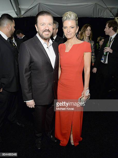 Host Ricky Gervais and Jane Fallon attend The Weinstein Company's 2016 Golden Globe Awards After Party at The Beverly Hilton Hotel on January 10 2016...