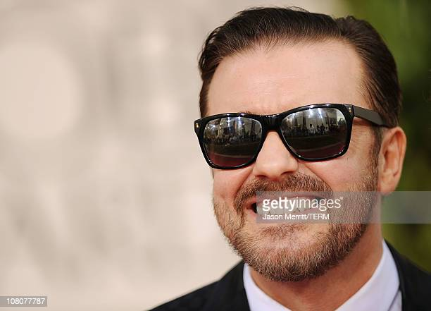 Host Ricky Gervais arrives at the 68th Annual Golden Globe Awards held at The Beverly Hilton hotel on January 16 2011 in Beverly Hills California