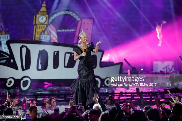 Host Rita Ora performs on stage during the MTV EMAs 2017 held at The SSE Arena Wembley on November 12 2017 in London England