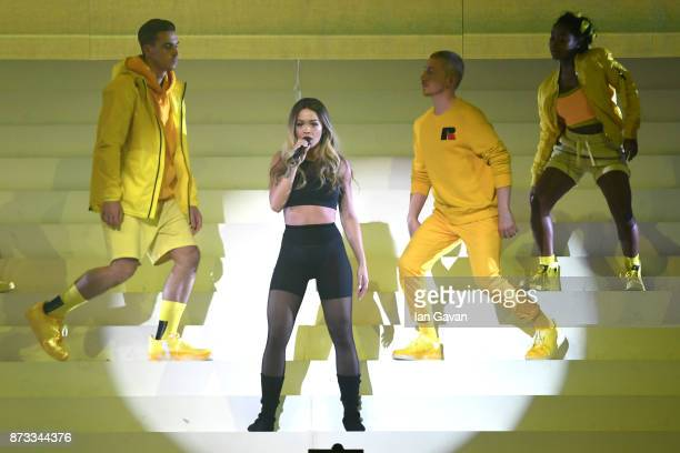 Host Rita Ora sings on stage during the MTV EMAs 2017 held at The SSE Arena Wembley on November 12 2017 in London England