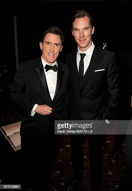 Host Rob Brydon and actor Benedict Cumberbatch attend the 2013 BAFTA LA Jaguar Britannia Awards presented by BBC America at The Beverly Hilton Hotel...