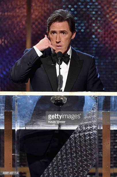 Host Rob Brydon speaks onstage during the BAFTA Los Angeles Jaguar Britannia Awards presented by BBC America and United Airlines at The Beverly...