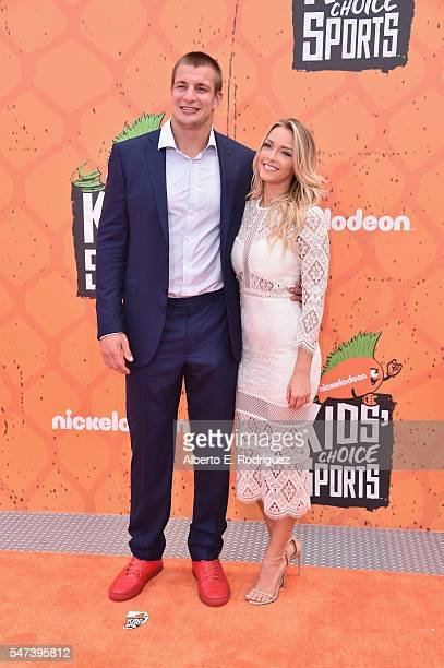 Host Rob Gronkowski and NFL cheerleader Camille Kostek attend the Nickelodeon Kids' Choice Sports Awards 2016 at UCLA's Pauley Pavilion on July 14...