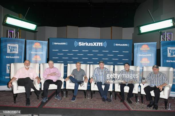 Host Rob Reiner Brian Wilson Al Jardine Mike Love David Marks and Bruce Johnston of The Beach Boys speak onstage during SiriusXM's Town Hall with The...