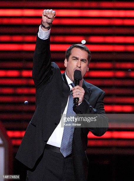 Host Rob Riggle speaks onstage during the 2012 ESPY Awards at Nokia Theatre LA Live on July 11 2012 in Los Angeles California