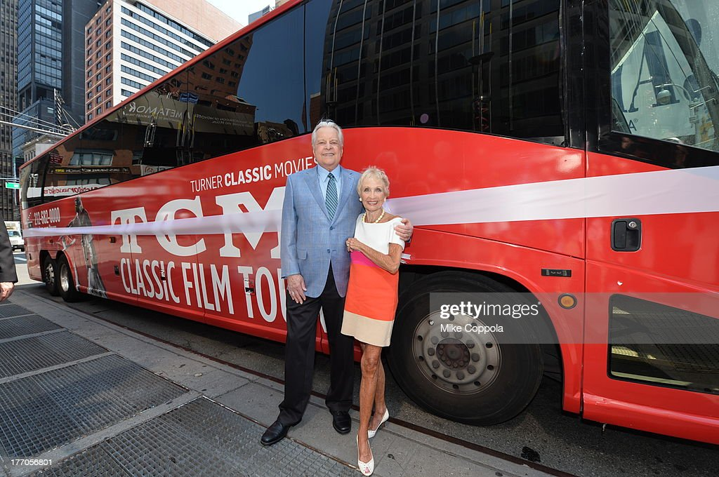 TCM host Robert Osborne (L) is joined by actress Jane Powell to launch the 'TCM Classic Film Tour' on August 20, 2013 in New York City. Featuring stops at some of the most famous movie locations throughout the city, this sightseeing bus tour opens to the public Thursday, Aug. 22, running Tuesdays, Thursdays and Saturdays, beginning at 11:30 a.m. The three-hour sightseeing bus tour will take movie fans to some of the city's greatest filming locations, including the Empire State Building (King Kong); Zabar's market (Manhattan, You've Got Mail); Holly Golightly's brownstone (Breakfast at Tiffany's); the famed subway grate that blew Marilyn Monroe's skirt (The Seven-Year Itch); Grand Central Terminal (North by Northwest, Superman); and, of course, Central Park. (Photo by Mike Coppola/WireImage) 23987_004_MC_ 0036.JPG Robert Osborne; Jane Powell