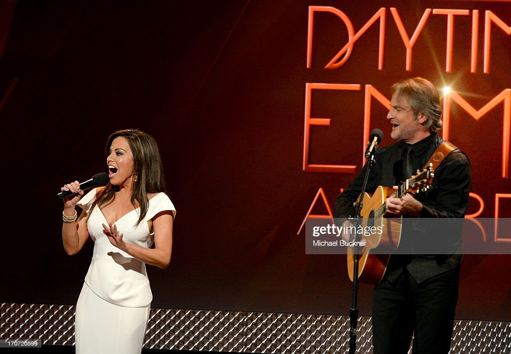 Host Robin Meade and guitarist Andy Childs perform onstage during the 40th Annual Daytime Emmy Awards at the Beverly Hilton Hotel on June 16, 2013 in Beverly Hills, California. 23774_001_2220.JPG