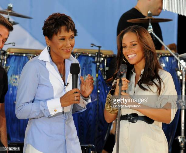 TV host Robin roberts and Alicia Keys talk on on ABC's 'Good Morning America' at Rumsey Playfield Central Park on June 25 2010 in New York City