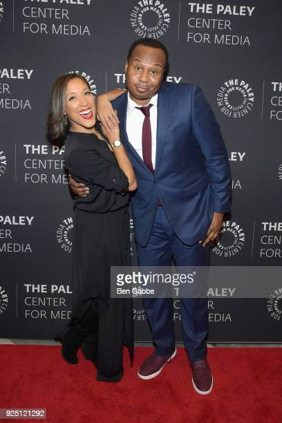 Host Robin Thede and comedian Roy Wood Jr attend The Rundown With Robin Thede presented by Paley Center for Media at The Paley Center for Media on...