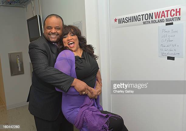 Host Roland Martin and actress Jackée attend the taping of TV One's 'Washington Watch With Roland Martin' Hollywood Special at KCET Studios on...