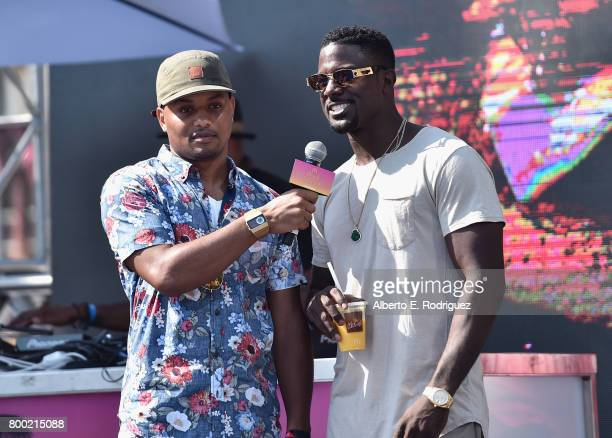 Host Ron G and actor Lance Gross speak at day one of the Pool Groove sponsored by McDonald's during the 2017 BET Experience at Gilbert Lindsey Plaza...