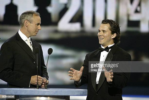 Host Ron McLean chats with Martin St.Louis of the Tampa Bay Lightning winner of the Art Ross Trophy, awarded annually to the player who leads the...