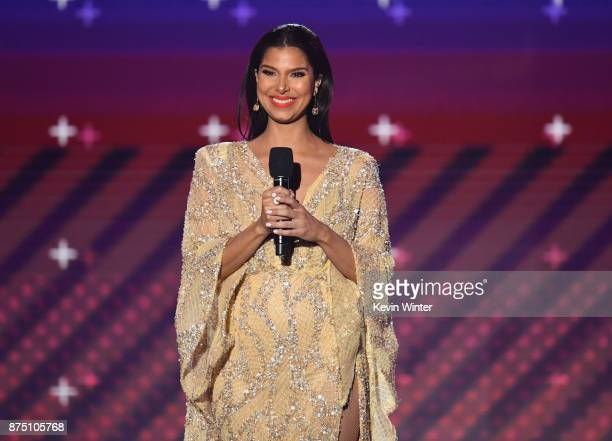 Host Roselyn Sanchez speaks onstage at the 18th Annual Latin Grammy Awards at MGM Grand Garden Arena on November 16 2017 in Las Vegas Nevada