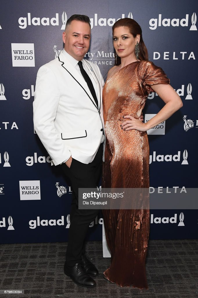 Host Ross Mathews and honoree Debra Messing pose backstage at the 28th Annual GLAAD Media Awards at The Hilton Midtown on May 6, 2017 in New York City.