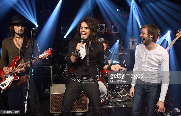 Host Russell Brand and Kasabian appearing on No 1 Leicester SquareThe show will be broadcast on MTV at 1000pm on Monday
