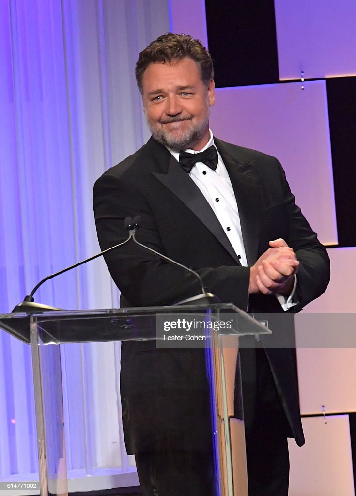 Host Russell Crowe speaks onstage at the 30th Annual American Cinematheque Awards Gala at The Beverly Hilton Hotel on October 14, 2016 in Beverly Hills, California.