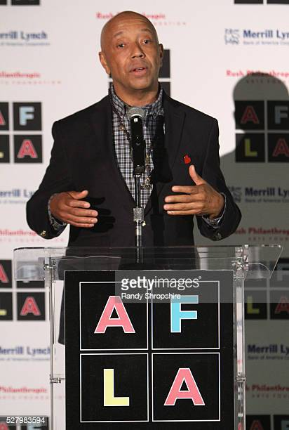 Host Russell Simmons speaks onstage during Russell Simmons' Rush Philanthropic Arts Foundation's inaugural Art For Life Los Angeles at Private...