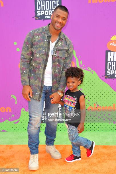 Host Russell Wilson and Future Zahir Wilburn attend Nickelodeon Kids' Choice Sports Awards 2017 at Pauley Pavilion on July 13 2017 in Los Angeles...