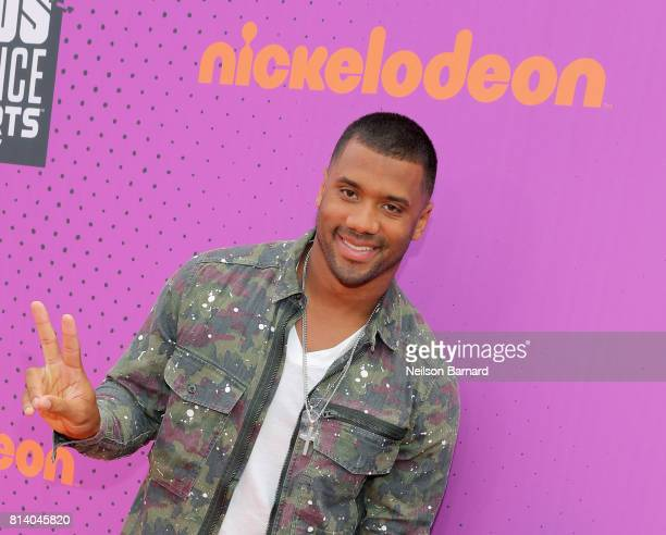 Host Russell Wilson attends Nickelodeon Kids' Choice Sports Awards 2017 at Pauley Pavilion on July 13 2017 in Los Angeles California