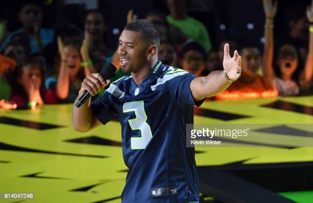 Host Russell Wilson speaks onstage during Nickelodeon Kids' Choice Sports Awards 2017 at Pauley Pavilion on July 13 2017 in Los Angeles California