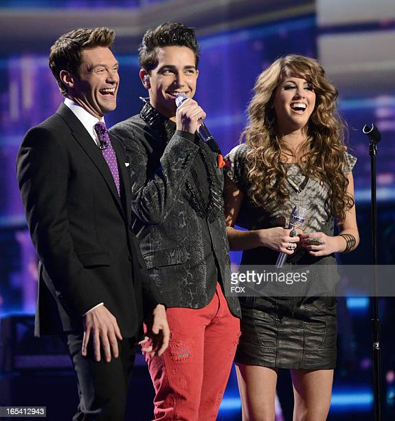 Host Ryan Seacerst and contestants Lazaro Arbos and Angie Miller onstage at FOX's American Idol Season 12 Top 7 Live Performance Show on April 3 2013...