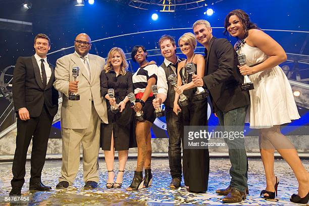 Host Ryan Seacrest and all seven past American Idol winners Ruben Studdard Kelly Clarkson Fantasia Barrino David Cook Carrie Underwood Taylor Hicks...