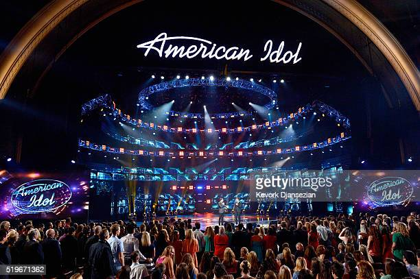 Host Ryan Seacrest and Brian Dunkleman speak onstage during FOX's American Idol Finale For The Farewell Season at Dolby Theatre on April 7 2016 in...