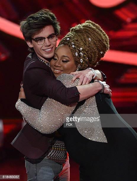 Host Ryan Seacrest and contestant La'Porsha Renae onstage at FOX's American Idol Season 15 on March 31, 2016 in Hollywood, California.