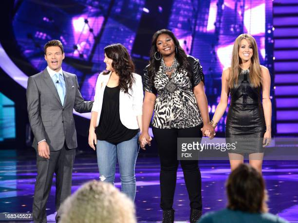 Host Ryan Seacrest and contestants Kree Harrison Candice Glover and Angie Miller onstage at FOX's American Idol Season 12 Top 3 Live Performance Show...