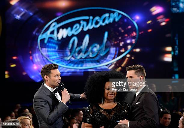 """Host Ryan Seacrest and finalists La'Porsha Renae and Trent Harmon speak onstage during FOX's """"American Idol"""" Finale For The Farewell Season at Dolby..."""