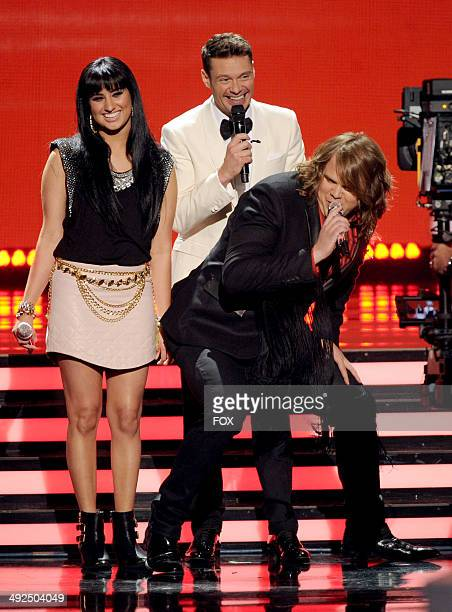 Host Ryan Seacrest and top 2 contestants Caleb Johnson and Jena Irene onstage at FOX's American Idol XIII Top 2 Live Performance Show on May 20 2014...