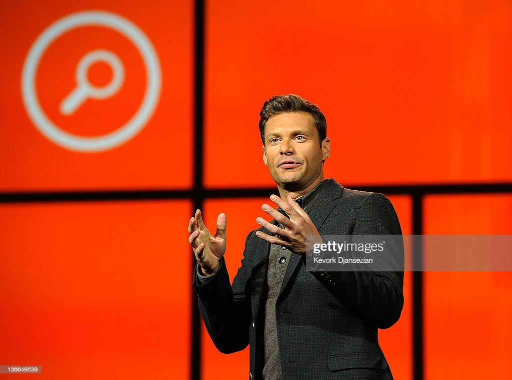 Host Ryan Seacrest arrives for Microsoft CEO Steve Ballmer's keynote address at the 2012 International Consumer Electronics Show at The Venetian January 10, 2012 in Las Vegas, Nevada. CES, the world's largest annual consumer technology trade show, runs through January 13 and is expected to feature 2,700 exhibitors showing off their latest products and services to about 140,000 attendees.