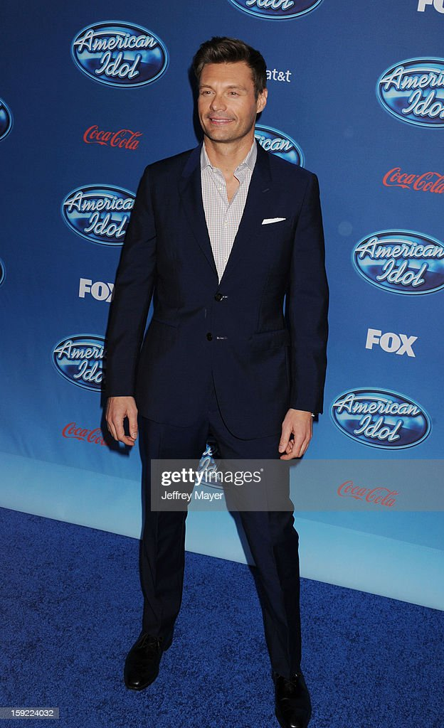 Host Ryan Seacrest attends the FOX's 'American Idol' Season 12 Premiere at Royce Hall on the UCLA Campus on January 9, 2013 in Westwood, California.