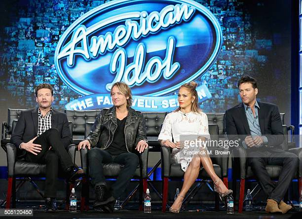 Host Ryan Seacrest Judge Keith Urban Judge Jennifer Lopez and Judge Harry Connick Jr speak onstage during the 'American Idol' panel discussion at the...