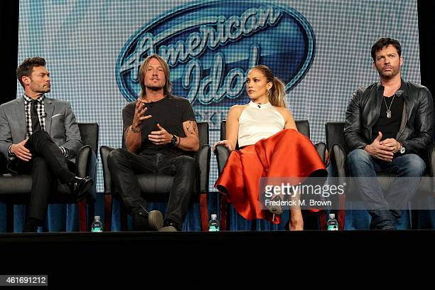 Host Ryan Seacrest, musician/judge Keith Urban, singer/actress/judge Jennifer Lopez and musician/actor/judge Harry Connick, Jr. Speak onstage during...