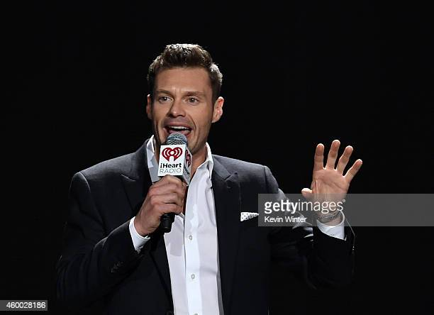 Host Ryan Seacrest speaks onstage during KIIS FM's Jingle Ball 2014 powered by LINE at Staples Center on December 5 2014 in Los Angeles California