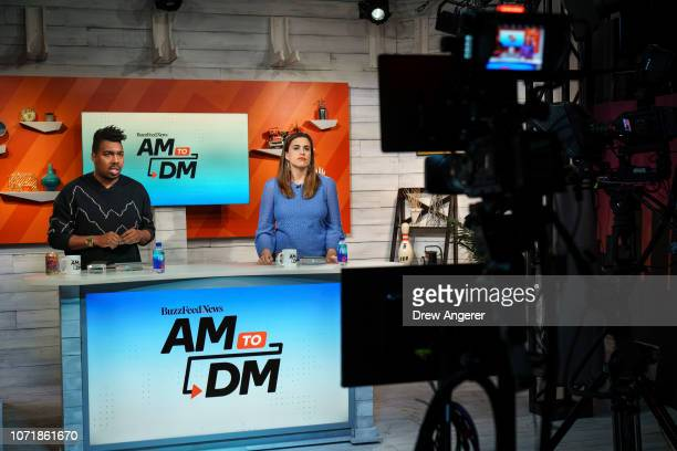 Host Saeed Jones and fillin host Stephanie McNeal rehearse before a live recording of of BuzzFeed News' AM To DM morning show at BuzzFeed...