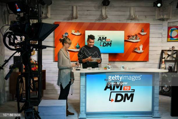 Host Saeed Jones prepares before a live recording of of BuzzFeed News' AM To DM morning show at BuzzFeed headquarters December 11 2018 in New York...