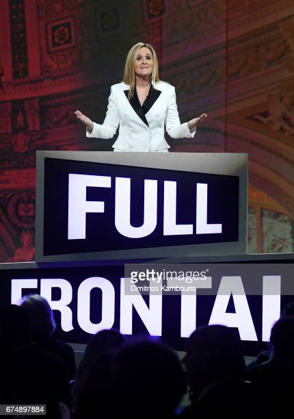 Host Samantha Bee speaks onstage during Full Frontal With Samantha Bee's Not The White House Correspondents' Dinner at DAR Constitution Hall on April...