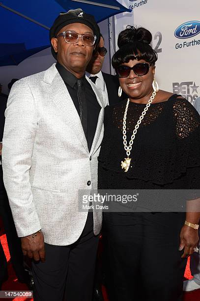 Host Samuel L Jackson and Latanya Richardson arrive at the 2012 BET Awards at The Shrine Auditorium on July 1 2012 in Los Angeles California
