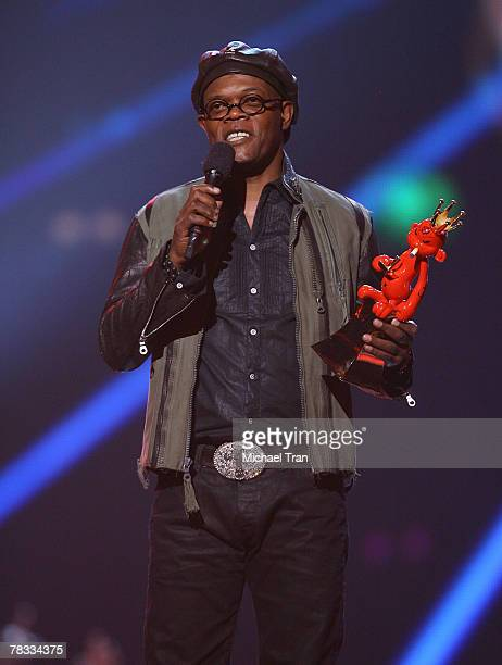 Host Samuel L Jackson speaks during Spike TV's 2007 'Video Game Awards' at the Mandalay Bay Events Center on December 7 2007 in Las Vegas Nevada